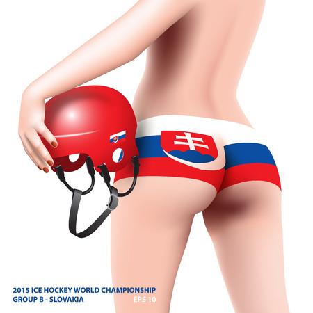 slovakia flag: woman with hockey helmet and national slovakia flag on panties