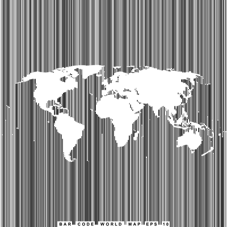 empty shape world map on background from bar code lines  Illustration