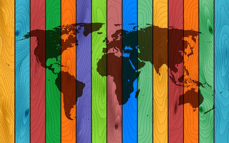 log wall: the color wood world map