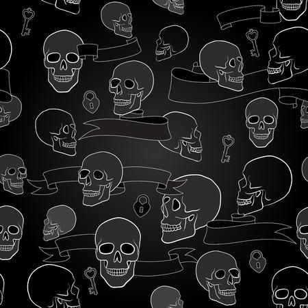 human skulls seamless pattern with ribbons, keys and heart shape lock Vector
