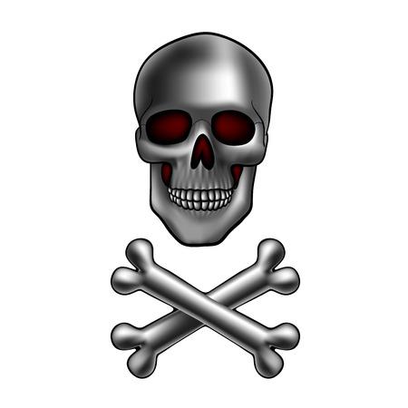 skull and crossed bones: metal cr�neo con huesos cruzados