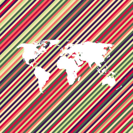 empty shape world map on background from color lines