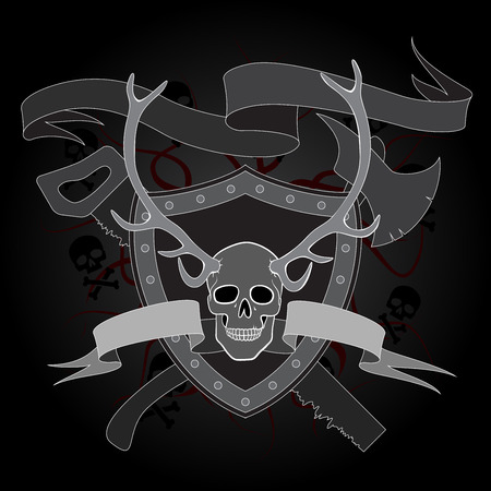 warning saw: horned skull coat of arms with ax and saw