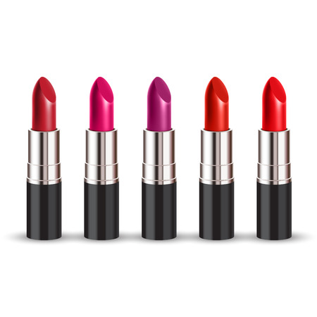 color lipstick set on white