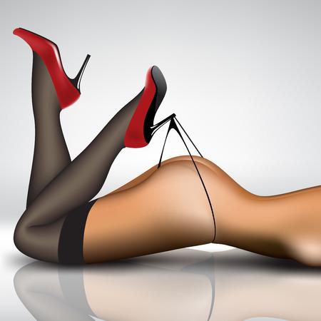 Pin-up-Frauen die Beine in Strümpfen und Schuhen
