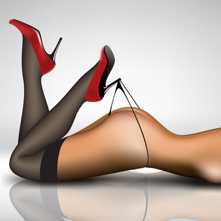 sexy stockings: pin-up womens legs in stockings and shoes Illustration