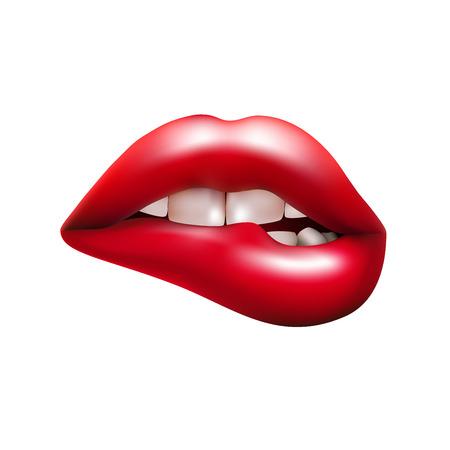 la boca abierta con morder el labio rojo