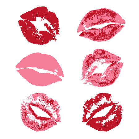 red lipstick kiss print pattern  イラスト・ベクター素材