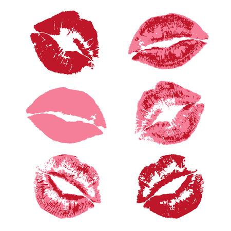 beso labios: patrón de impresión beso del lápiz labial rojo
