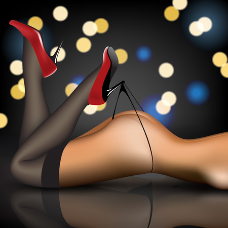 pin-up womens legs in stockings and shoes Illustration