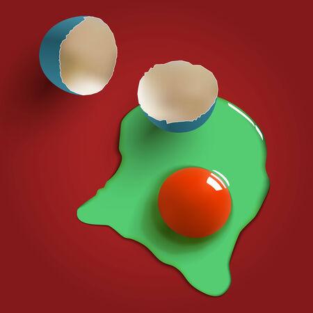 raw egg: cracked surreal raw egg, shell, yolk and albumen Illustration