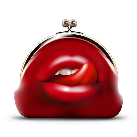 accumulation: predator purse with open mouth, lips and tongue