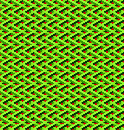 link fence: abstract seamless green chain link fence with red background