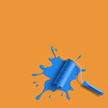 roller brush: cepillo de rodillo con el azul chapoteo de la pintura en la pared de color naranja