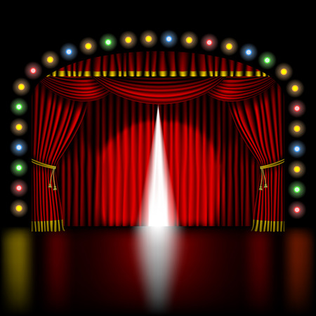 fabric patterns: stage with opening red curtain and lights