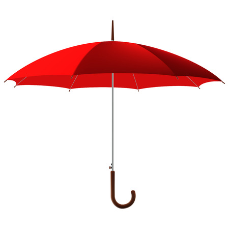 open classic red umbrella stick
