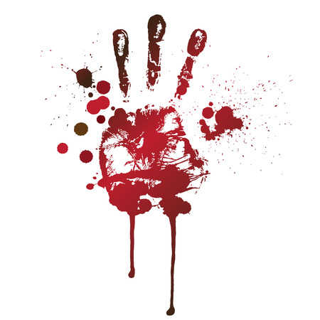 bloody hand print: bloody print of a hand and fingers