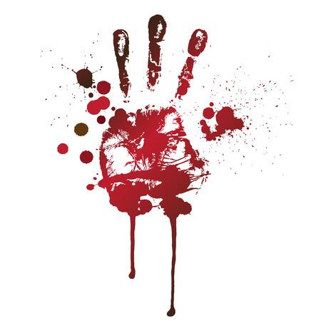 bloody hand print: huella de sangre de una mano y los dedos Vectores