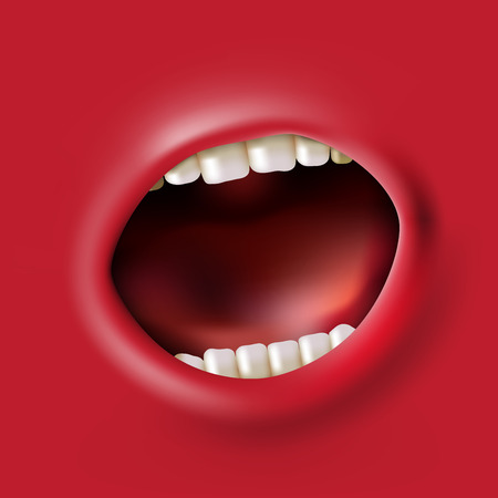 mouth pain: open red screaming mouth background