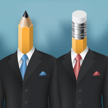 m�nner business: Bleistift und Radiergummi M�nner Gesch�ftskonzept