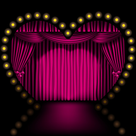 curtain design: heart shape stage with pink curtain and lights