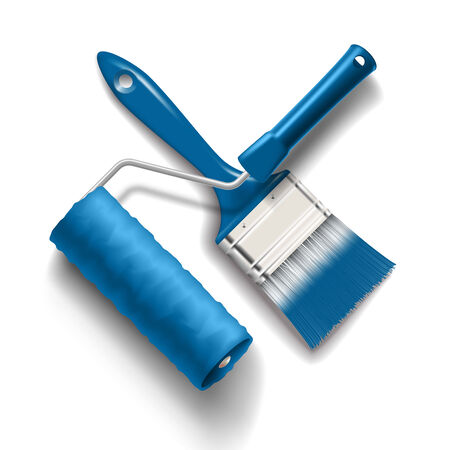 work tools - paint brush and roller with blue color paint
