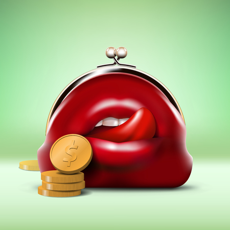 desire: Red Predator Purse with Open Mouth and Coins