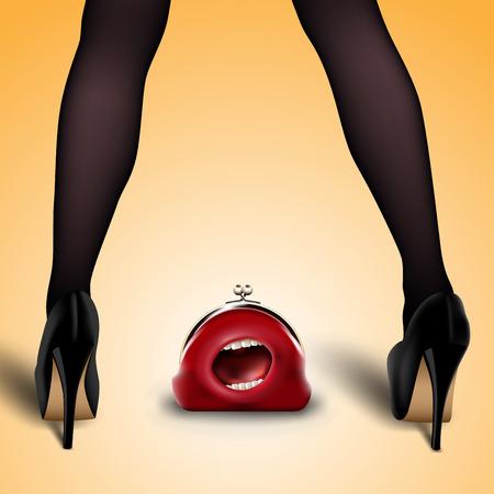 legs stockings: gambe femminili in calze e scarpe con perso borsa rossa