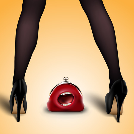 legs stockings: womens legs in stockings and shoes with lost red purse