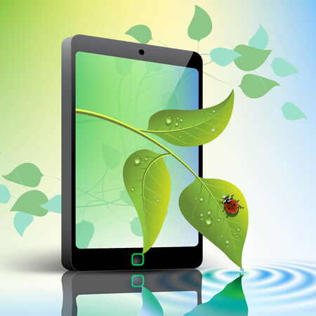 lady beetle: Mobile Phone with Leaves and Ladybug green environment concept