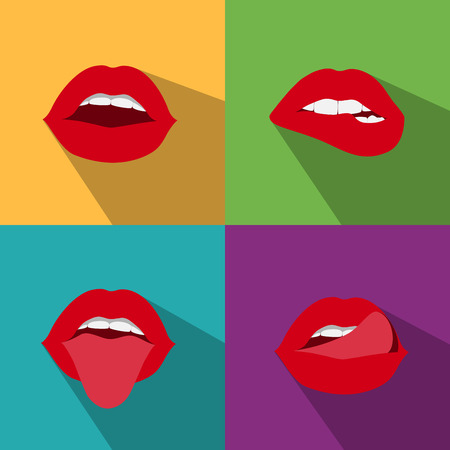 pop art woman lips flat style with shadow Illustration