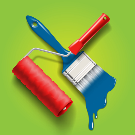 work tools - paint brush and roller with red and blue color paint Vector