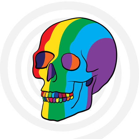 surreal rainbow color human skull Vector