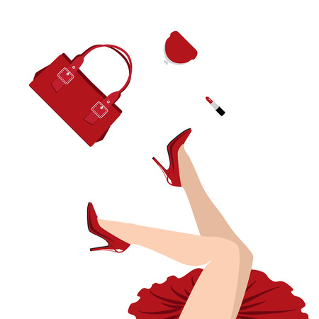 flying kiss: falling woman in red dress with handbag, purse and lipstick Illustration