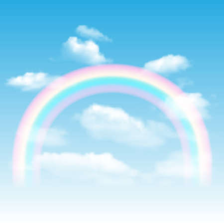 rainbow sky: Background with rainbow, blue sky and clouds. Illustration