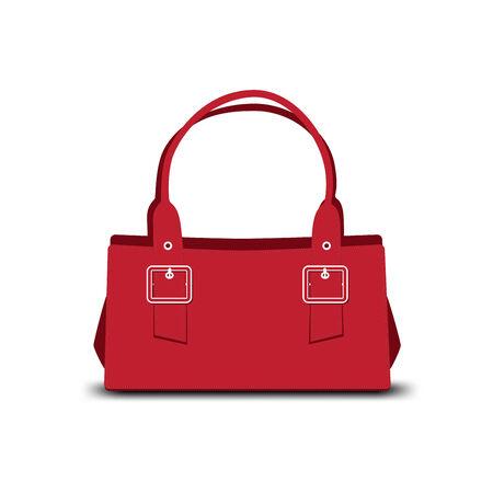 red leather ladies handbag on white background