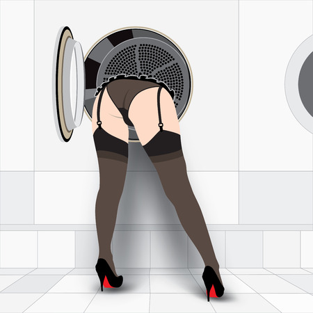 Beautiful sexy woman in the Washing machine Vector