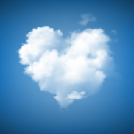 love cloud: Heart Shape Cloud on blue sky Illustration