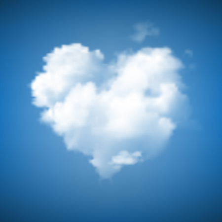Heart Shape Cloud on blue sky Illustration