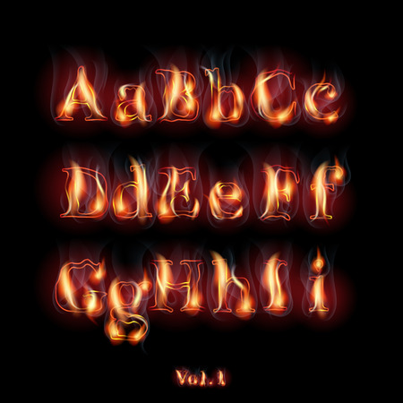 flame alphabet: Fire Burning Latin Alphabet Letters.