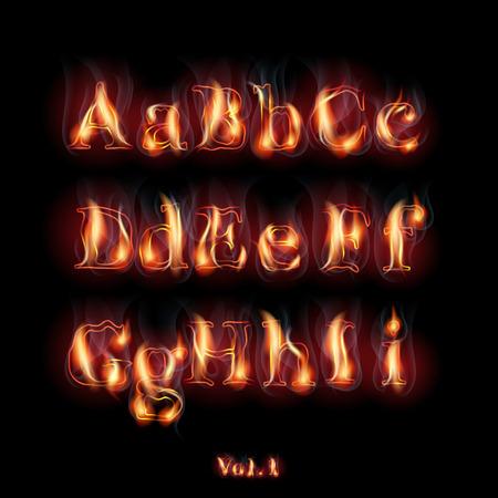 Fire Burning Latin Alphabet Letters.