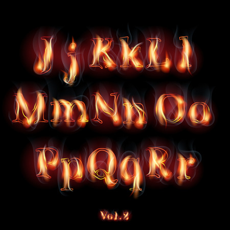 flame letters: Fire Burning Latin Alphabet Letters.