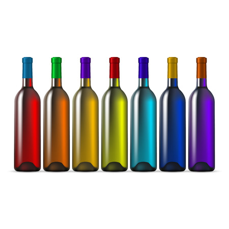 aligote: Rainbow Color Glass Wine Bottles Illustration
