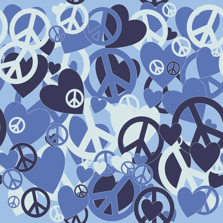 Surreal Military Camouflage Background with Love and Pacifism sign Illustration