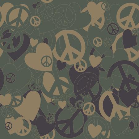 simbolo de la paz: Surrealista fondo del camuflaje militar con Amor y Pacifismo signo Vectores