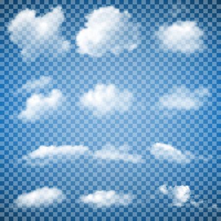 cielo con nubes: Conjunto de nubes transparentes (gradiente de malla)