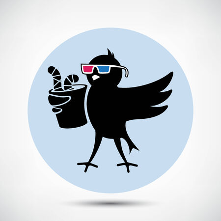 twitter: Black Bird with 3D Glasses and Cup of Worms Illustration