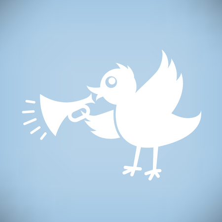twitter: White Bird with Horn. Flat style