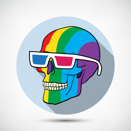 Color Skull in 3D Glasses with flat shadow Vector