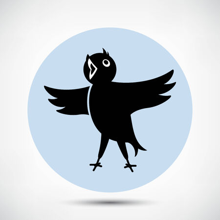 twitter: Singing Cute Black Bird Icon. Flat style